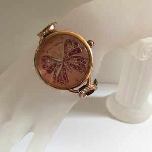 Betsey Johnson butterfly watch in rose gold